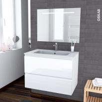IPOMA BLANC - Ensemble meuble salle de bains - Meuble, plan vasque résine et miroir rétro éclairé - L80,5xH58,5xP50,5