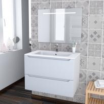 PIMA BLANC - Ensemble meuble salle de bains - Meuble, plan vasque résine et miroir rétro éclairé - L80,5xH58,5xP50,5