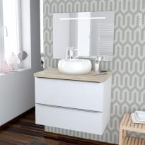 Ensemble salle de bains - Meuble BORA Blanc - Plan de toilette Chêne clair Ikoro - Vasque ronde - Miroir lumineux - L80 x H57 x P50 cm