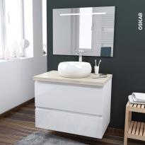 Ensemble salle de bains - Meuble IPOMA Blanc brillant - Plan de toilette Chêne clair Ikoro - Vasque ronde - Miroir lumineux - L80 x H57 x P50 cm