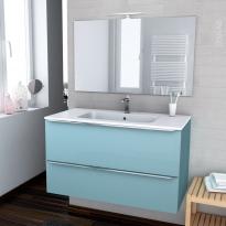 Ensemble salle de bains - Meuble KERIA Bleu - Plan vasque résine - Miroir et éclairage - L100,5 x H58,5 x P50,5 cm