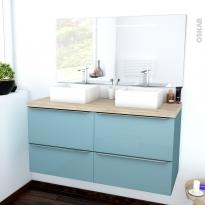 KERIA BLEU - Ensemble meuble salle de bains - Meuble, plan de toilette, double vasque et miroir rétro éclairé - L120xH57xP50