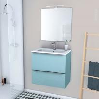 Ensemble salle de bains - Meuble KERIA Bleu - Plan vasque résine - Miroir et éclairage - L60,5 x H58,5 x P40,5 cm