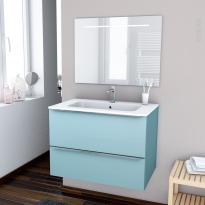 KERIA BLEU - Ensemble meuble salle de bains - Meuble, plan vasque résine et miroir rétro éclairé - L80,5xH58,5xP50,5
