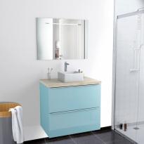 Ensemble salle de bains - Meuble KERIA Bleu - Plan de toilette Hosta - Vasque carrée - Miroir lumineux - L80 x H70 x P50 cm