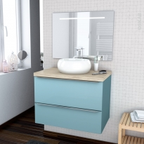 Ensemble salle de bains - Meuble KERIA Bleu - Plan de toilette Chêne clair Ikoro - Vasque ronde - Miroir lumineux - L80 x H57 x P50 cm