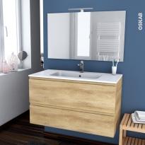 IPOMA BOIS - Ensemble meuble salle de bains - Meuble, plan vasque résine, miroir et éclairage - L100,5xH58,5xP50,5