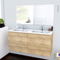 IPOMA BOIS - Ensemble meuble salle de bains - Meuble, plan double vasque résine et miroir rétro éclairé - L120,5xH58,5xP50,5