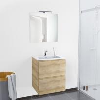 Ensemble salle de bains - Meuble IPOMA Bois - Plan vasque résine - Miroir et éclairage - L60,5 x H71,5 x P50,5 cm