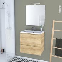 IPOMA BOIS - Ensemble meuble salle de bains - Meuble, plan vasque résine, miroir et éclairage - L60,5 x H58,5 x P40,5 cm