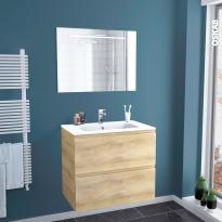 IPOMA BOIS - Ensemble salle de bains - Meuble, plan vasque résine et miroir rétro éclairé - L80,5 x H71,5 x P50,5 cm
