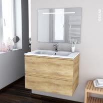IPOMA BOIS - Ensemble salle de bains - Meuble, plan vasque résine et miroir rétro éclairé - L80,5 x H58,5 x P50,5 cm