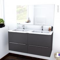 Ensemble salle de bains - Meuble GINKO Gris - Plan double vasque résine - Miroir lumineux - L120,5 x H58,5 x P50,5 cm