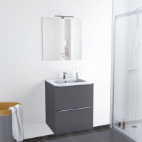 Ensemble salle de bains - Meuble GINKO Gris - Plan vasque résine - Miroir et éclairage - L60,5 x H71,5 x P50,5 cm