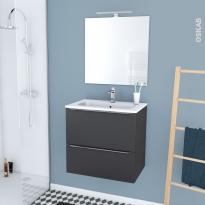 GINKO GRIS - Ensemble meuble salle de bains - Meuble, plan vasque résine, miroir et éclairage - L60,5xH58,5xP40,5