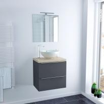 Ensemble salle de bains - Meuble GINKO Gris - Plan de toilette Chêne clair Ikoro - Vasque bol - Miroir et éclairage - L60 x H57 x P40 cm