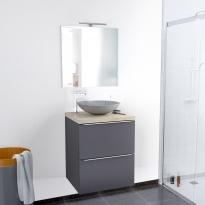 Ensemble salle de bains - Meuble GINKO Gris - Plan de toilette - Vasque ronde - Miroir et éclairage - L60 x H70 x P50 cm