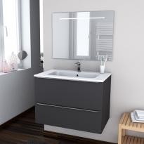 GINKO GRIS - Ensemble meuble salle de bains - Meuble, plan vasque résine et miroir rétro éclairé - L80,5xH58,5xP50,5