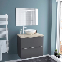 Ensemble salle de bains - Meuble GINKO Gris - Plan de toilette - Vasque bol - Miroir lumineux - L80 x H70 x P50 cm