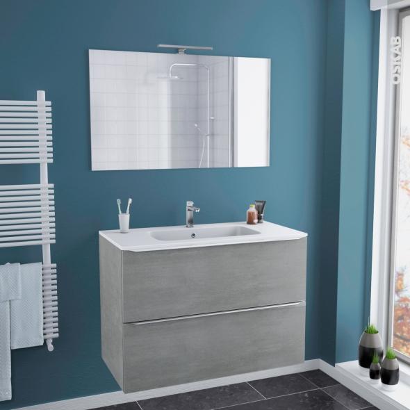 Ensemble salle de bains meuble fakto b ton plan vasque r sine miroir et clairage l100 5 x h71 5 - Salle de bain resine ...