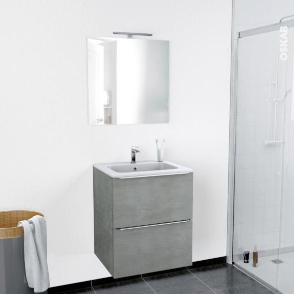 Ensemble salle de bains meuble fakto b ton plan vasque r sine miroir et clairage l60 5 x h71 5 - Salle de bain resine ...