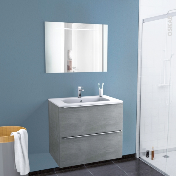 Ensemble Salle De Bains Meuble Fakto Beton Plan Vasque Resine Miroir Lumineux L80 5 X H71 5 X P50 5 Cm Oskab