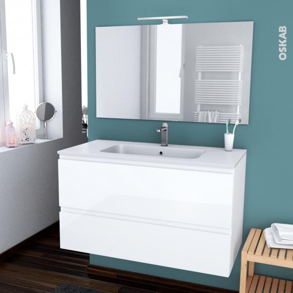 IPOMA BLANC - Ensemble meuble salle de bains - Meuble, plan vasque résine, miroir et éclairage - L100,5xH58,5xP50,5