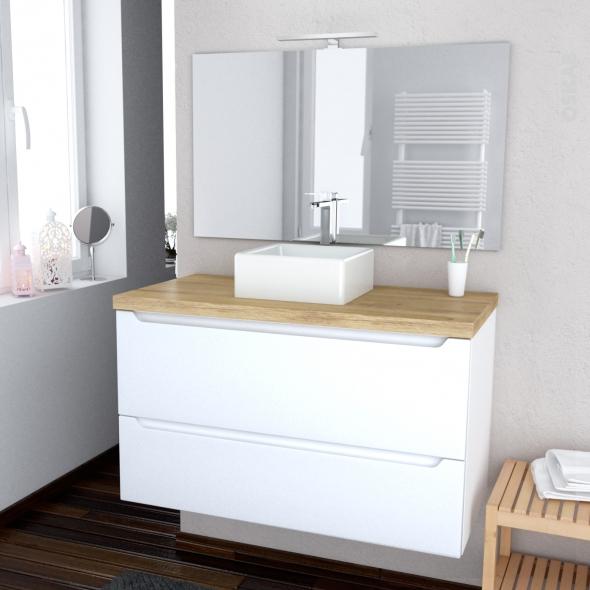 PIMA BLANC - Ensemble meuble salle de bains - Meuble, plan de toilette, vasque, miroir et éclairage - L100xH57xP50