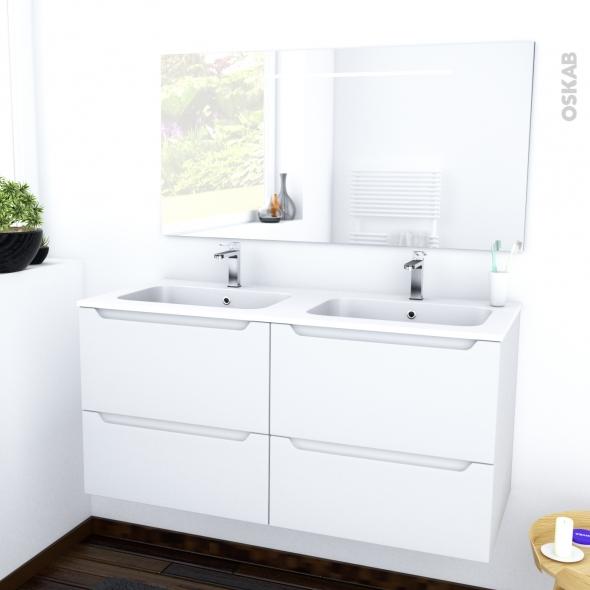 PIMA BLANC - Ensemble meuble salle de bains - Meuble, plan double vasque résine et miroir rétro éclairé - L120,5xH58,5xP50,5