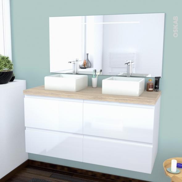 IPOMA BLANC - Ensemble meuble salle de bains - Meuble, plan de toilette, double vasque et miroir rétro éclairé - L120xH57xP50