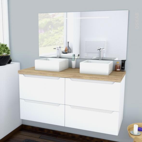 PIMA BLANC - Ensemble meuble salle de bains - Meuble, plan de toilette, double vasque et miroir rétro éclairé - L120xH57xP50