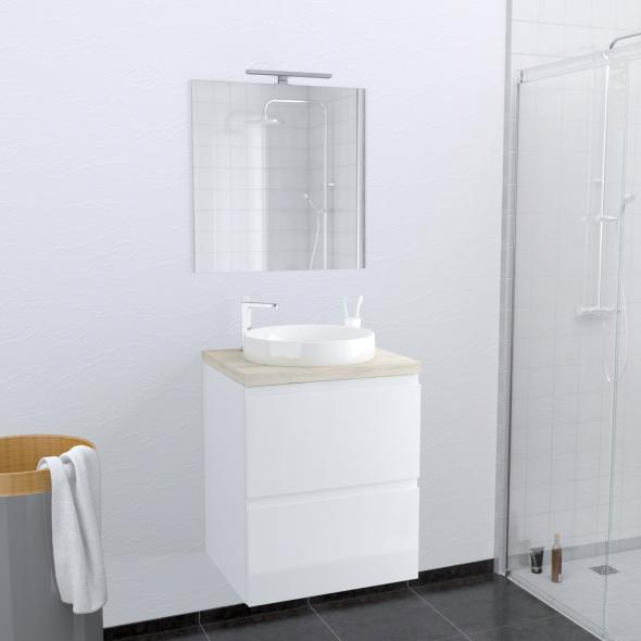 Ensemble salle de bains - Meuble IPOMA Blanc brillant - Plan de toilette Chêne clair Ikoro - Vasque ronde - Miroir et éclairage - L60 x H70 x P50 cm