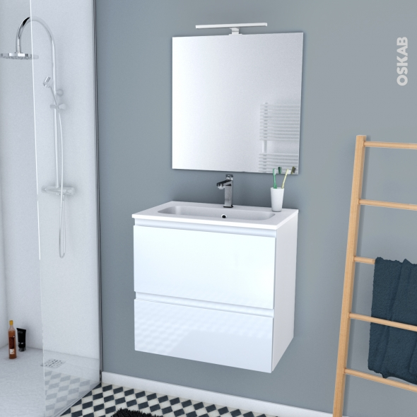 IPOMA BLANC - Ensemble meuble salle de bains - Meuble, plan vasque résine, miroir et éclairage - L60,5xH58,5xP40,5