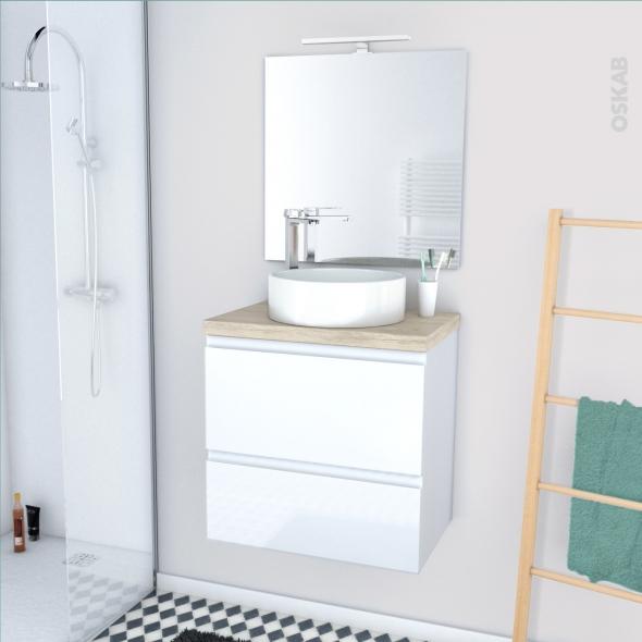 IPOMA BLANC - Ensemble meuble salle de bains - Meuble, plan de toilette, vasque, miroir et éclairage - L60xH57xP40