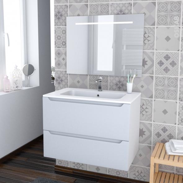 Ensemble salle de bains - Meuble PIMA Blanc - Plan vasque résine - Miroir lumineux - L80,5 x H58,5 x P50,5 cm