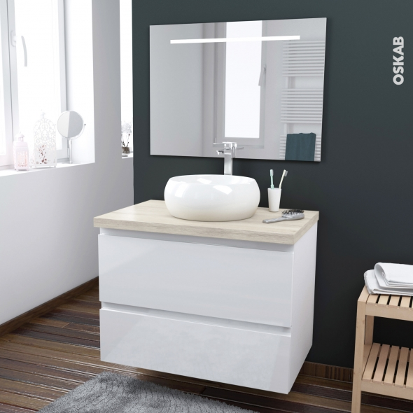 ensemble salle de bains meuble ipoma blanc brillant plan de toilette hosta vasque ronde miroir. Black Bedroom Furniture Sets. Home Design Ideas