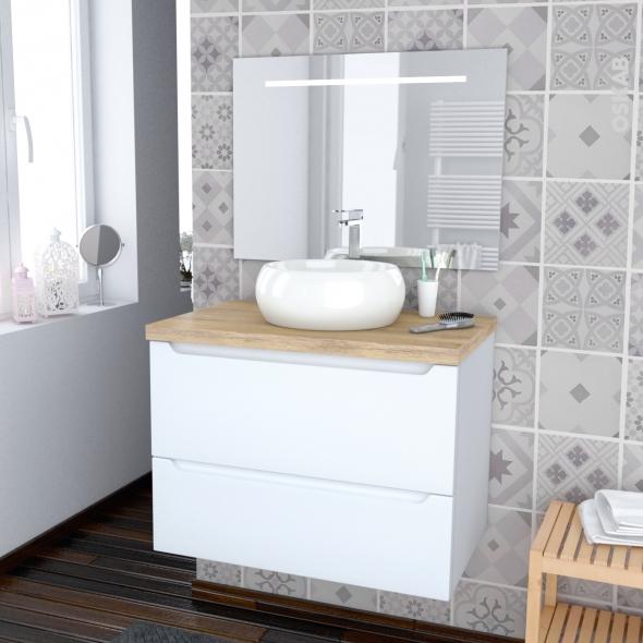 Ensemble salle de bains - Meuble PIMA Blanc - Plan de toilette Hosta -Vasque ronde - Miroir lumineux - L80 x H57 x P50 cm