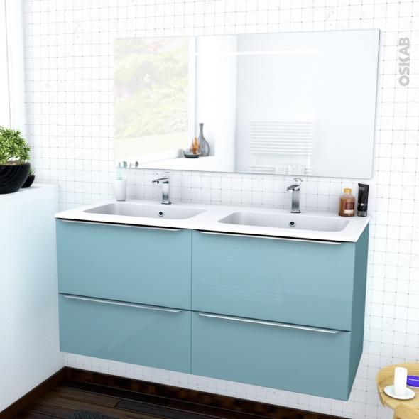 KERIA BLEU - Ensemble meuble salle de bains - Meuble, plan double vasque résine et miroir rétro éclairé - L120,5xH58,5xP50,5