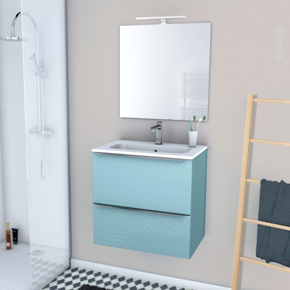 KERIA BLEU - Ensemble meuble salle de bains - Meuble, plan vasque résine, miroir et éclairage - L60,5xH58,5xP40,5