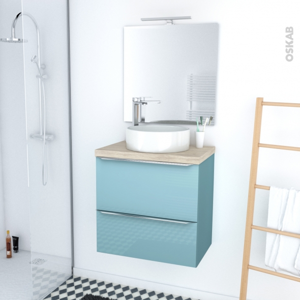 ensemble salle de bains meuble keria bleu plan de toilette ch ne naturel vasque ronde miroir et. Black Bedroom Furniture Sets. Home Design Ideas
