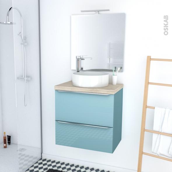 KERIA BLEU - Ensemble meuble salle de bains - Meuble, plan de toilette, vasque, miroir et éclairage - L60xH57xP40