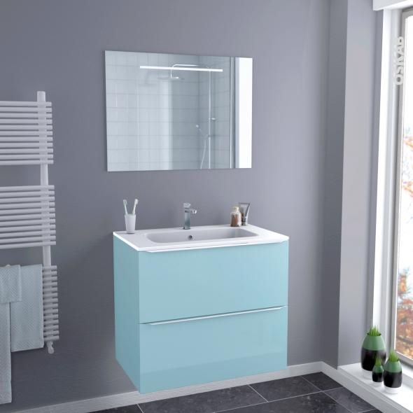 Ensemble salle de bains meuble keria bleu plan vasque r sine miroir lumineux l80 5 x h71 5 x p50 - Salle de bain resine ...