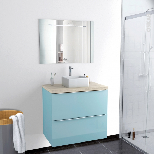 Ensemble salle de bains meuble keria bleu plan de toilette for Ensemble de meuble salle de bain