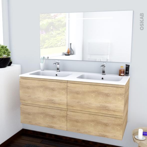Ensemble salle de bains meuble ipoma bois plan double vasque r sine miroir lu - Ensemble salle de bain bois ...