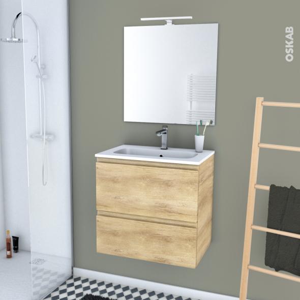 IPOMA BOIS - Ensemble meuble salle de bains - Meuble, plan vasque résine, miroir et éclairage - L60,5xH58,5xP40,5