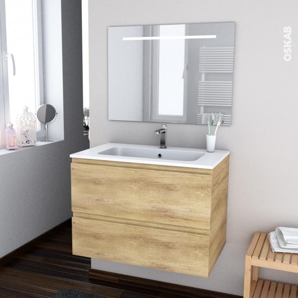 IPOMA BOIS - Ensemble meuble salle de bains - Meuble, plan vasque résine et miroir rétro éclairé - L80,5xH58,5xP50,5