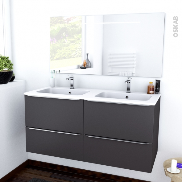 GINKO GRIS - Ensemble meuble salle de bains - Meuble, plan double vasque résine et miroir rétro éclairé - L120,5xH58,5xP50,5