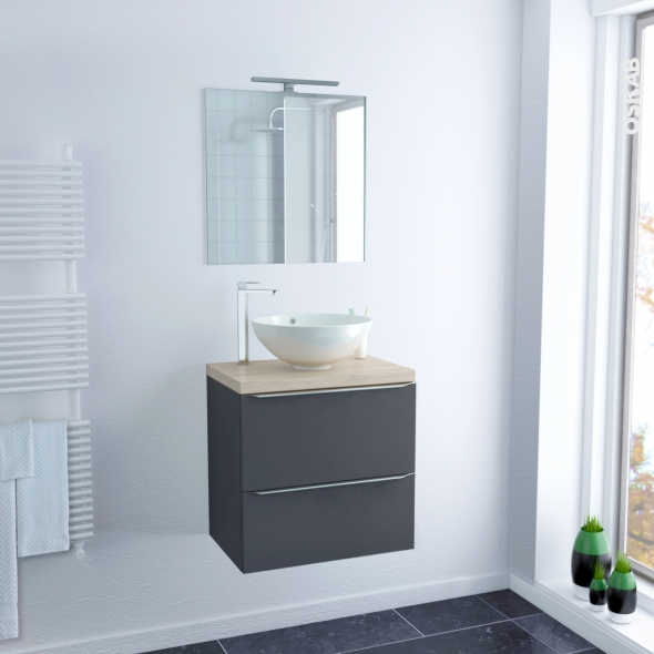ensemble salle de bains meuble ginko gris plan de toilette ch ne naturel vasque bol miroir et. Black Bedroom Furniture Sets. Home Design Ideas