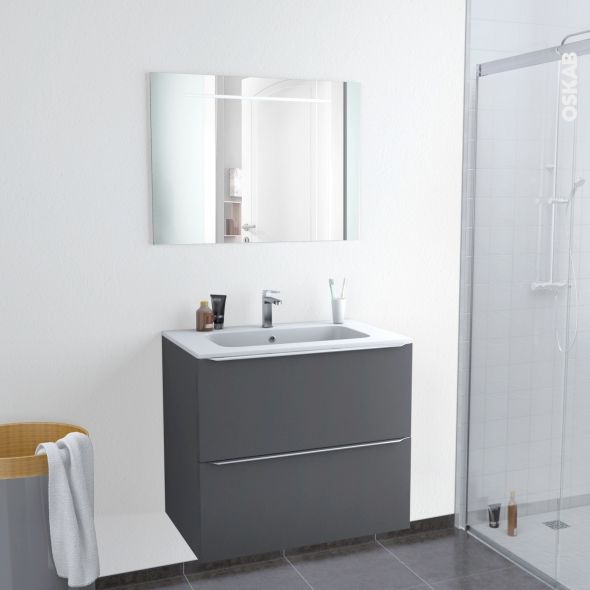 Ensemble salle de bains - Meuble GINKO Gris - Plan vasque résine - Miroir lumineux - L80,5 xH71,5 x P50,5 cm