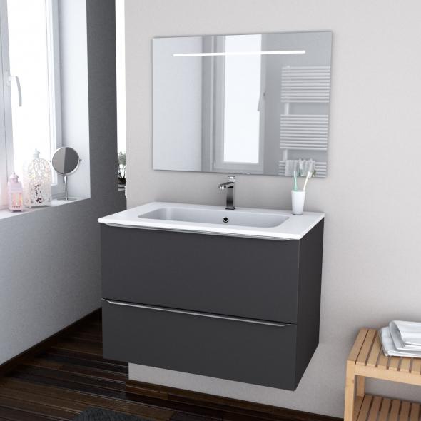 Ginko gris ensemble meuble salle de bains meuble plan vasque r sine et miroir - Meuble de salle de bain gris ...